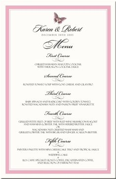 page borders in pink | Wedding Menu Card Border