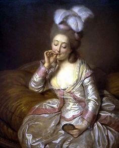Jeune femme admirant une miniature et fumant un cigare, Pierre Alexandre Wille