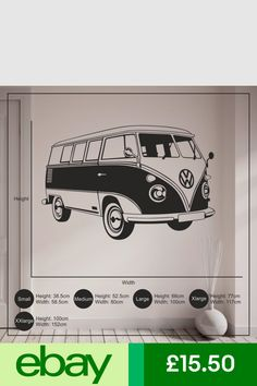 6010f632bf8 VW Camper Van Wall Sticker Living Room Bedroom Vinyl Wall Art Decal Home  Decor