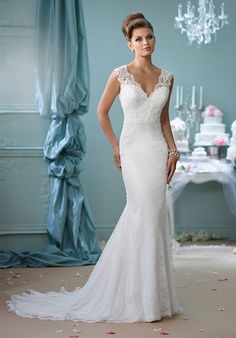 Lace trumpet gown with V-neckline, illusion back, and cap sleeves I Style: 116132 I Enchanting by Mon Cheri I  http://knot.ly/6495BxIxJ
