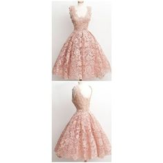 Vintage A-line Scalloped-Edge Knee-Length Lace Light Pink Prom... ❤ liked on Polyvore featuring dresses, pink vintage dress, prom dresses, vintage prom dresses, vintage lace dress and lace dress