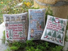 The Prairie Schooler Christmas Samplers: I like the way the tree sampler was divided into two separate pieces.