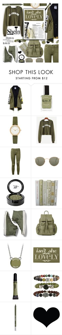 """SHEIN Letter Print Raw Hem Crop Sweatshirt"" by anin-kutak ❤ liked on Polyvore featuring Moschino, Lauren B. Beauty, Skagen, Current/Elliott, Ray-Ban, Beauty Is Life, Keds, Topshop, Home Decorators Collection and Urban Decay"