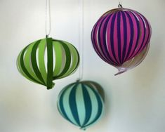 tutorial: DIY paper globe these would be cute hanging in the play room Paper Ornaments, Christmas Ornaments To Make, How To Make Ornaments, Christmas Crafts, Xmas, Ball Ornaments, Homemade Christmas, Christmas Holidays, Christmas Decorations