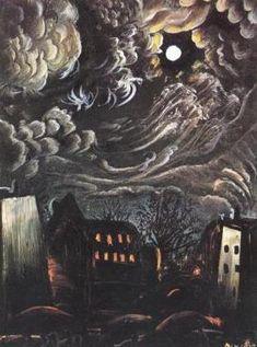 Dix, Night over the City, 1913 OTTO DIX Night over the City Communicates a sense of doom.OTTO DIX Night over the City Communicates a sense of doom. Art And Illustration, Fantasy Kunst, Fantasy Art, Nocturne, Degenerate Art, Art Moderne, Art Abstrait, Art Graphique, Museum