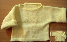 CHAPTER 14 - Knitting a beginner's level bra, in one piece. - The knitting workshop of Mam 'Yveline. Baby Knitting, Crochet Baby, Knit Crochet, Tricot Baby, Bebe Baby, Couture, Knit Cardigan, American Girl, Knitwear