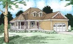 Country Front Elevation Plan #126-130 - Houseplans.com