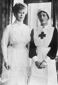 Queen Mary and Princess Mary, photographed during The Great War.