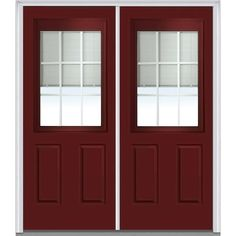 Milliken Millwork 74 in. x 81.75 in. Classic Clear Low-E RLB Glass 1/2 Lite 2 Panel Painted Majestic Steel Exterior Double Door, Red