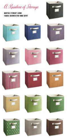 Martha Stewart Fabric Storage Drawers at Home Depot. Using these for playroom organization!
