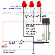 NOT Gate Using NPN Transistor | IamTechnical.com | Led | Pinterest ...