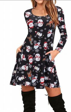 Women Christmas Print Long Sleeve Dress Bohe Mini Dresses With Pockets Snowman Us S/Tag M -- Be sure to check out this awesome product. (This is an affiliate link) Club Dresses, Sexy Dresses, Mini Dresses, Christmas Dress Women, Cheap Plus Size Lingerie, Elegant Dresses For Women, Women's Fashion Dresses, Clothes For Women, Long Sleeve