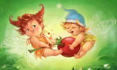 Lovely angel, Elves grab Apple, Diamond embroidery cartoon characters beads embroidery needlework picture of rhinestones   #Affiliate