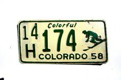 1958 Colorado Skier License Plate 14H174 - Ski Colorado License Plate - Colorado Skier Plate