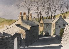 Another demo piece, showing how effective strong shadows can be -this is Gunnerside in Swaledale Landscape Sketch, Landscape Drawings, Watercolor Landscape, Landscape Art, Watercolor Painting Techniques, Pen And Watercolor, Watercolor Paintings, Watercolors, John Harrison