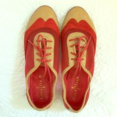 Cole Haan Oxfords. Size 7B. Tan leather and red suede Cole Haan oxfords. Pictures show wear. Super cute for fall to wear with pants and skirts. Cole Haan Shoes