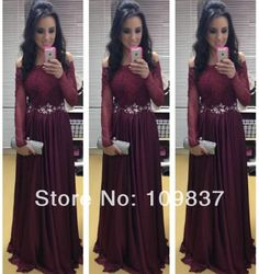 Elegant Maroon Off-shoulder Beaded Lace Appliqued Top Chiffon Pleating Floor-length Mature Ladies Sexy Long Sleeve Evening Dress US $139.00