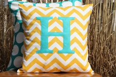 NEW Monogrammed Yellow Chevron and Turquoise Throw by nest2impress, $18.00