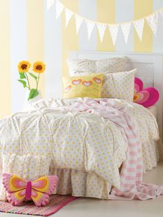 Subtle pink and yellow floral quilt