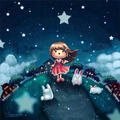 falling stars illustration by jenn (AT) mechanical-bunnies.com