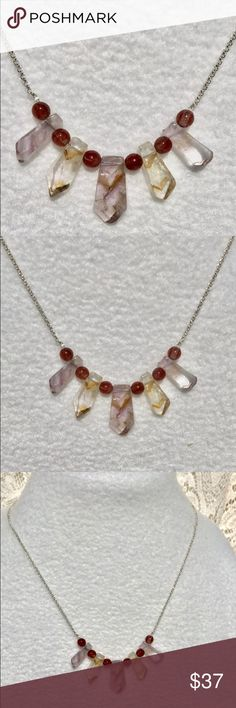 Ametrine & Rutilated Quartz Gemstone Necklace! Ametrine & Rutilated Quartz Necklace! Ametrine is a unique gemstone where Amethyst and Citrine grow together naturally. All Ametrine will not look exactly the same and that's what makes it so amazing! Some say that Ametrine is useful for eliminating depression and leads to inner peace and tranquility. Length can be adjusted upon request. (Bundle 3 listings & Save with my Discount!) #A24 NOTE: Anyone asking me to contact/email them outside of…