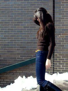 Ralph Lauren Black Label slim-fit cable cashmere; Rag & Bone FW 2011 era wash pencil leg; J.Crew FW 2011 skinny patent belt; Hunter original gloss tall boot #Looks #Shoes #Accessories