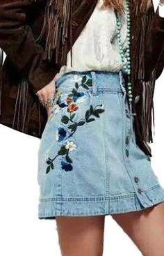 Embroidery Floral Blue Denim Skirt