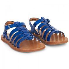 Pom D'Api Girls Patent Blue Plagette Strap Sandals | AlexandAlexa