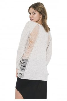 Cole Pullover by one grey day- Exaggerated drop needle panels adorn the sides and back of our Cole pullover, giving this style the classic OGD distressed look. Pullover Sweaters, Wool, Knitting, Grey, Long Sleeve, Fall 2015, Stuff To Buy, Shirts, Clothes