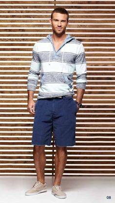 Grey Horizontal Striped Hoodie  — Black Watch  — Navy Shorts  — Beige Low Top Sneakers