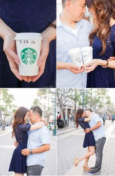"""Ben LOVES coffee. We thought it would be cute to incorporate coffee cups for the city shoot with a message written on them (names, date, thank you, Mr. & Mrs., """"love is brewing"""" - something like that)"""