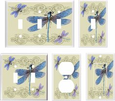 DRAGONFLY DRAGONFLIES  LIGHT SWITCH COVER PLATE K1 U PICK SIZE #Leviton