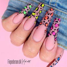 Neon Acrylic Nails, Gradient Nails, Neon Nails, Swag Nails, Acrylic Nail Designs, Neon Nail Designs, Matted Nails, Kylie Nails, Leopard Print Nails