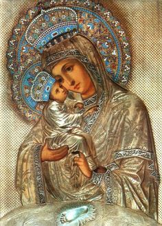 Pochaev Icon of the Mother of God Divine Mother, Blessed Mother Mary, Blessed Virgin Mary, Religious Images, Religious Icons, Religious Art, Jesus And Mary Pictures, Mary And Jesus, Immaculée Conception