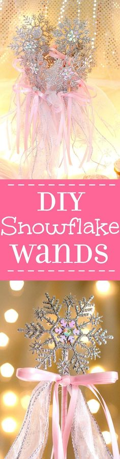 Beautiful DIY Snowflake Wands make great party favors or table decorations.  Learn how to make them with this DIY Snowflake Wands tutorial!