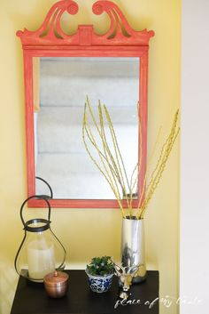 Mirror Makeover with Vintage Decor Paint - in @Michaels Stores and great for #diy furniture, #crafts and home decor projects #plaidcrafts #marthastewart #marthastewartcrafts
