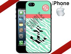 iPhone 4 Case  Mint Zebra Anchor Monogrammed by CrazianDesigns, $15.99