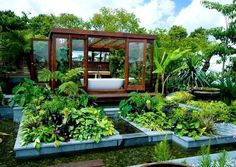 Designers James Wong and David Cubero created the ultimate garden bathroom retreat in a green oasis