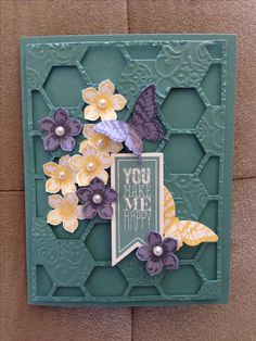 Hexagon Hive Thinlits Die in Lost Lagoon by Stampin'Up! by maureen Making Greeting Cards, Greeting Cards Handmade, Butterfly Cards, Flower Cards, Scrapbooking, Scrapbook Cards, Hexagon Cards, Stamping Up Cards, Rubber Stamping