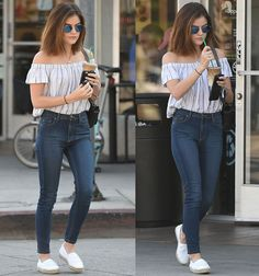 Lucy Hale in Bella Dahl top and Cheap Monday jeans