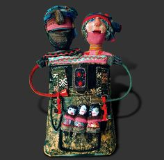 by Caroll Bertin textile art and mixed media assemblage contemporary,quirky patchwork art doll couple