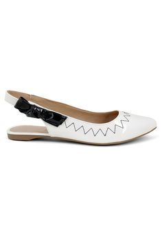 Mule Feminino Milano Vz Off White/Vz Preto 9790 Slingback Flats, Pumps, Flat Sandals, Shoes Sandals, Off White, Kitten Heels, High Heels, Footwear, Stylish