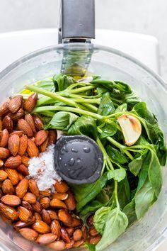 Almond Pesto Step-by-Step - DeliciouslyElla Almond Recipes, Veggie Recipes, Healthy Dinner Recipes, Vegetarian Recipes, Veggie Meals, Lunch Recipes, Sauces, Dips, Vinaigrette