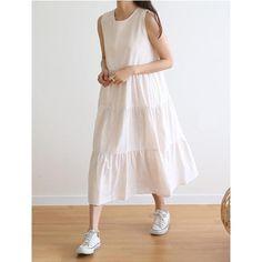 《30%OFF》I-SOOK|ティアードスリーブレスロングワンピース 全2色 Midi Skirt, White Dress, Skirts, Dresses, Fashion, Vestidos, Moda, Midi Skirts, Skirt