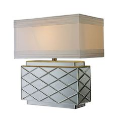 Wellsville Table Lamp In Mirror Finish With White Shade D1835