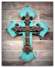 Wall Wood Cross - XS - Rustic Turquoise with iron Fleur de Lis cross Mosaic Crosses, Wooden Crosses, Crosses Decor, Wall Crosses, Painted Crosses, Turquoise Walls, Cross Wall Decor, Wood Candle Holders, Iron Decor