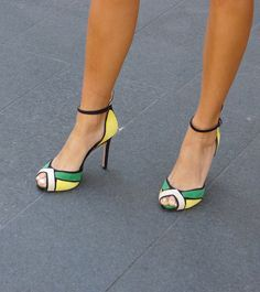 Amazing! Yellow & green & black & white...I love these heels!
