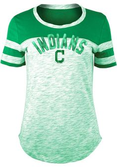 3754e15e015a2 Cleveland Indians Women s Space Dye St. Pat s Day Kelly Green Scoop T-Shirt.