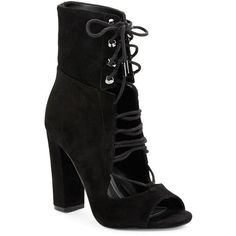 Kendall + Kylie Ella Lace-Up Booties (260 AUD) ❤ liked on Polyvore featuring shoes, boots, ankle booties, black, black ankle booties, black lace up booties, black suede ankle booties, open toe booties and black high heel boots