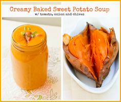 Super easy, Creamy Baked Sweet Potato Soup! for two.